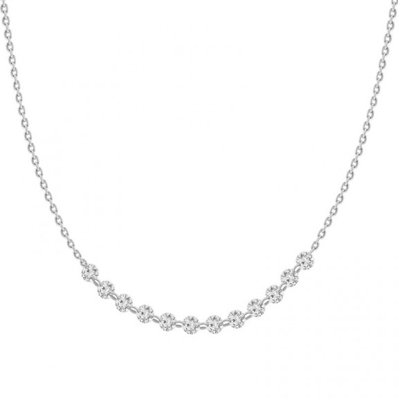 18K Laser Hole Diamond Collar Necklace(Small)