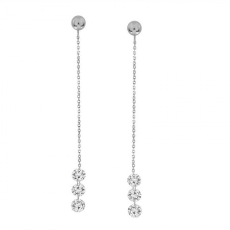 3 Laser Hole Diamond Chain Drop Earring