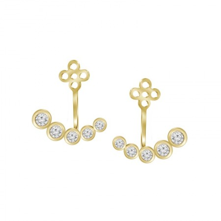 Diamond Bezel Jacket Earring