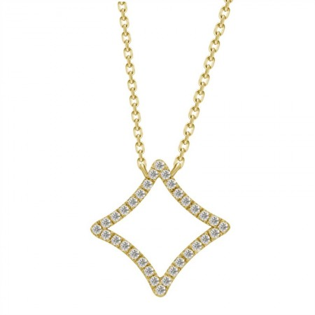 Diamond Open Square Necklace