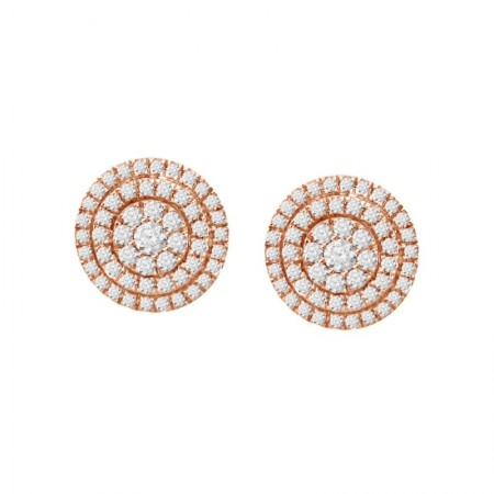 Diamond Round Illusion 2 Row Earring