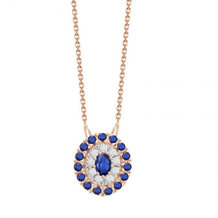 Sapphire/Diamond Oval shaped Necklace