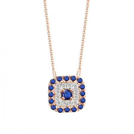 Sapphire-Diamond Square shaped Necklace